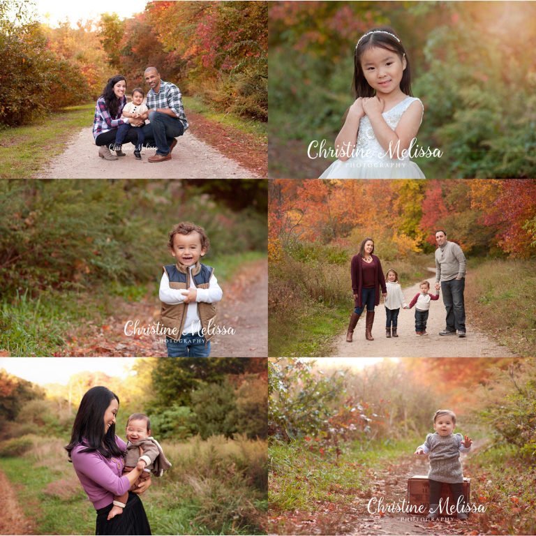 collage of families and children at fall photography session with christine melissa in massapequa and east islip new york