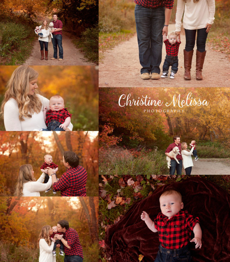 collage of family photos in long island new york with infant and dog in buffalo plaid for Christmas cards fall foliage leaves
