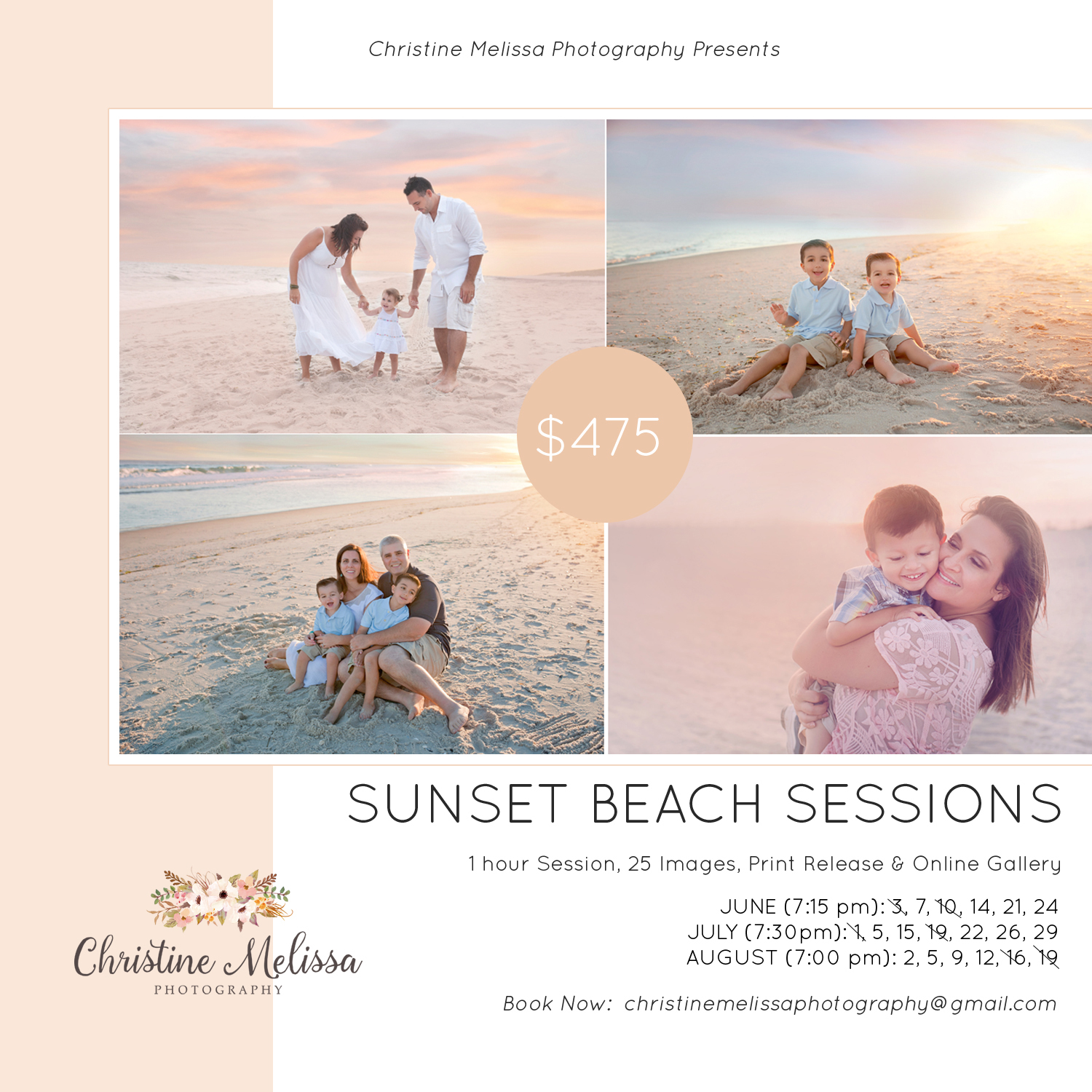 Sunset beach sessions long island family photographer