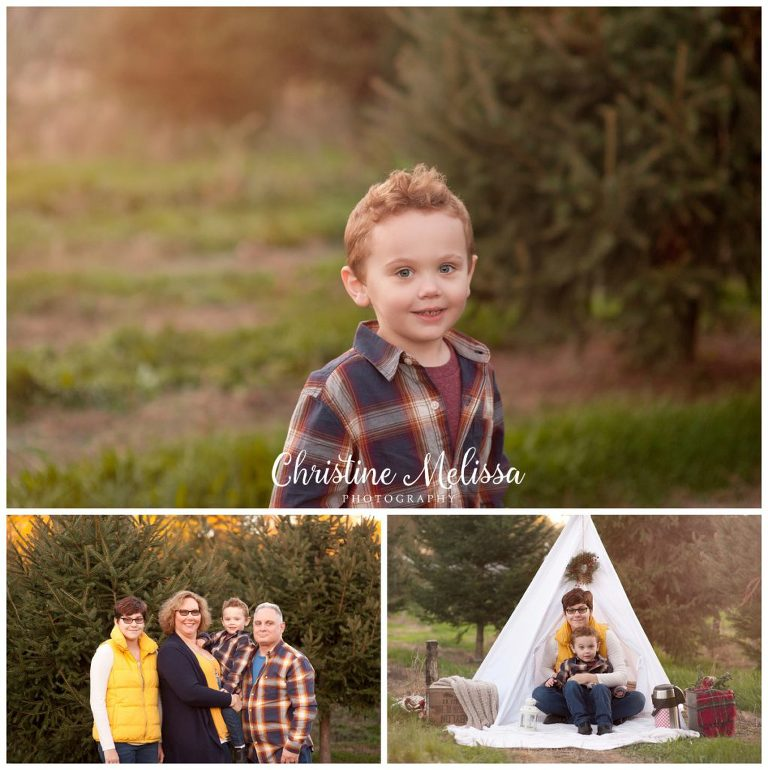 Holiday photos at christmas tree farm on long island with white tee pee set and family